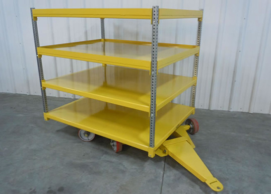warehouse trailer with 4 shelves