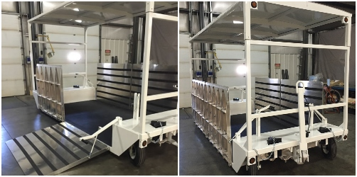 covered industrial trailer with side ramps