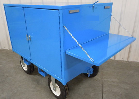 industrial warehouse trailer with side shelf